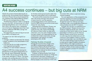 A4 success continues - but big cuts at NRM (Today's Railways UK, April 2014)